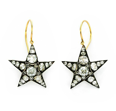 A Pair of Diamond Star Ear Pendants