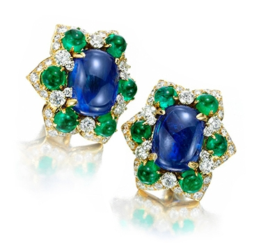 A Pair Of Sapphire, Emerald And Diamond Ear Clips, By Bulgari, Circa 1960