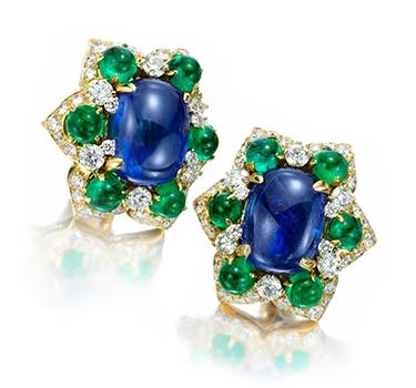 A Pair Of Sapphire, Emerald And Diamond Ear Clips, By Bulgari, Circa 1960