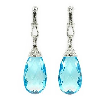 A Pair Of Belle Epoque Aquamarine And Diamond Ear Pendants, Circa 1910