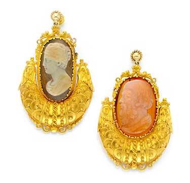 A Pair of Antique Gold and Cameo Ear Pendants, circa 19th Century