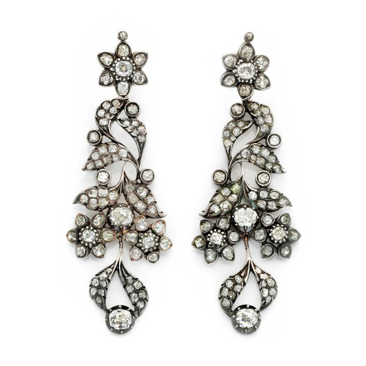 A Pair of Antique Diamond and Silver topped Gold Ear Pendants, circa 19th Century
