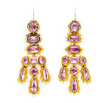 A Pair of Pink Topaz and Gold Ear Pendants, circa 18th Century
