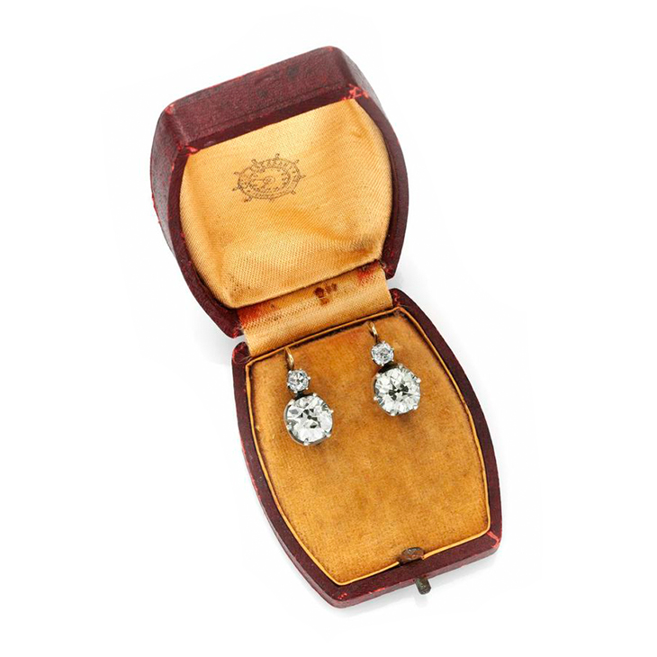 A Pair of Antique Old European-cut Diamond Earrings, of approximately 10.00 carats, circa 19th Century