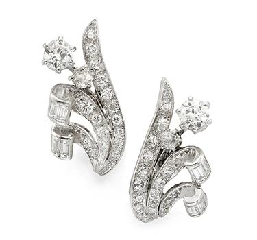 A Pair Of Diamond And Platinum Flower Ear Clips, By Boucheron, Circa 1940