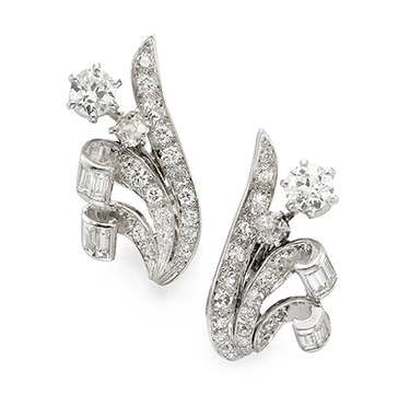 A Pair of Diamond and Platinum Flower Ear Clips, by Boucheron, circa 1940