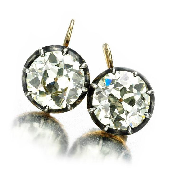 A Pair of Antique Diamond Earrings, of 13.46 carats, 19th Century