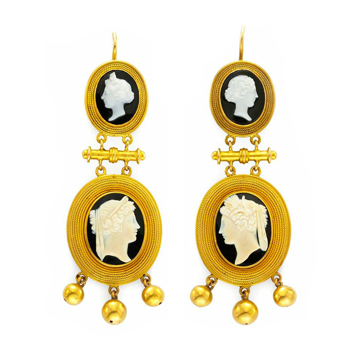 A Pair of Antique Carved Cameo and Gold Ear Pendants, 19th Century