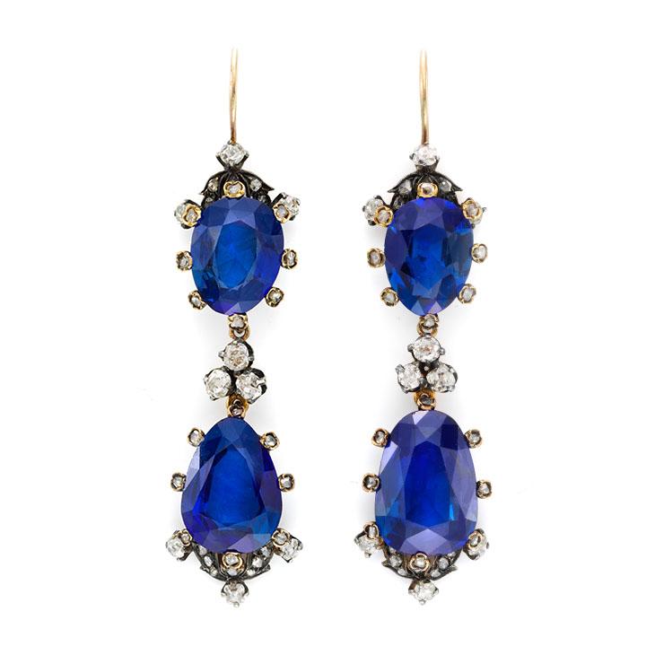 A Pair of Antique Burmese Sapphire and Rose-cut Diamond Ear Pendants, 19th Century