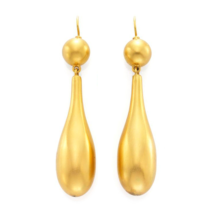 A Pair of Antique Gold Ear Pendants, 19th Century