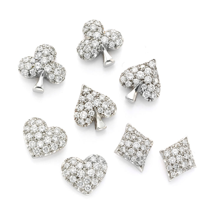 A Set of Diamond and Platinum Suite of Cards Ear Studs