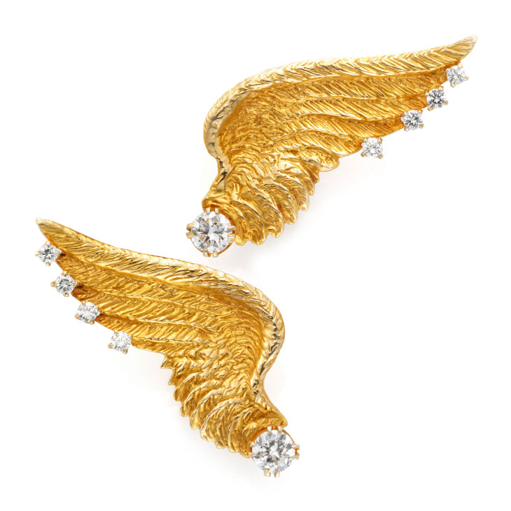 A Pair of Gold and Diamond Wing Ear Clips, circa 1940