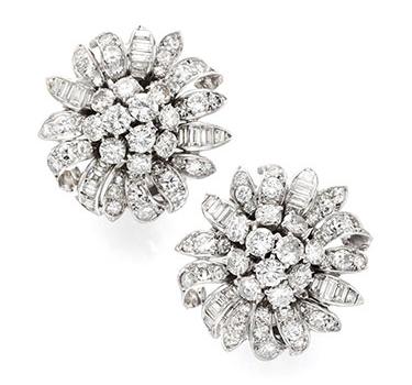 A Pair Of Diamond Cluster Ear Clips, Circa 1960