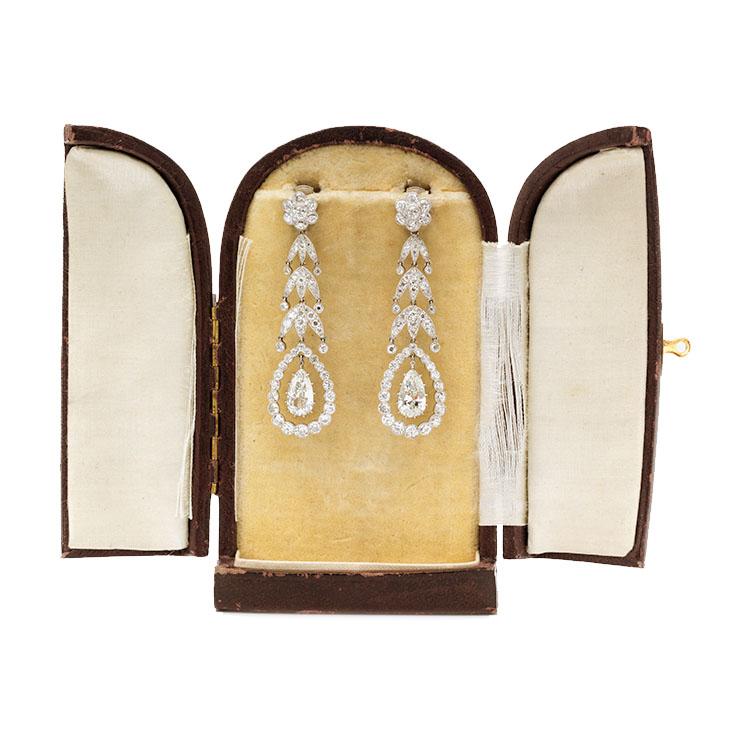 A Pair of Edwardian Diamond and Platinum Ear Pendants, circa 1910