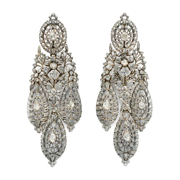 A Pair of Antique Iberian Diamond and Silver Ear Pendants, 19th Century