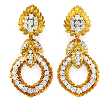 A Pair Gold And Diamond Ear Pendants, By David Webb, Circa 1970