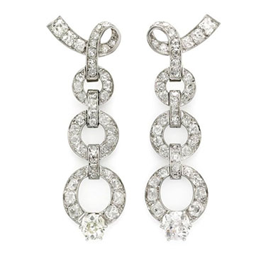 A Pair of Diamond and Platinum Ear Pendants, by Chaumet, circa 1950