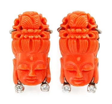 A Pair Of Carved Coral Guan-Yin And Diamond Ear Clips, Circa 1930