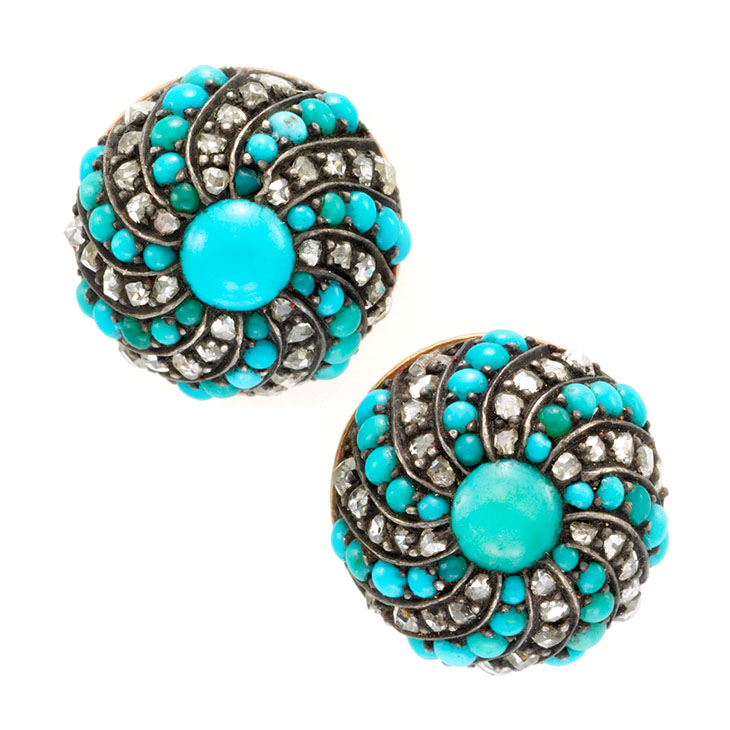 A Pair of Turquoise and Diamond Turban Earrings, 19th Century