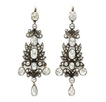 A Pair of Antique Rose-cut Diamond Ear Pendants, 19th Century