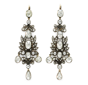 A Pair of Antique Rose-cut Diamond Ear Pendants, 19th Century