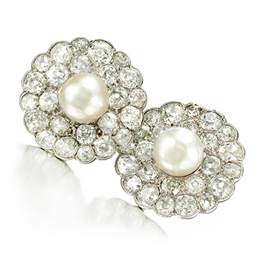 A Pair of Natural Pearl and Rose-cut Diamond Ear Clips