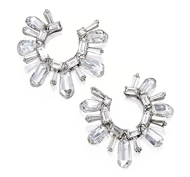 A Pair Of Briolette-cut Diamond Creole Ear Clips