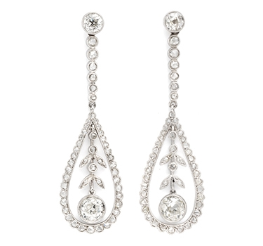 A Pair Of Edwardian Rose-cut Diamond Ear Pendants