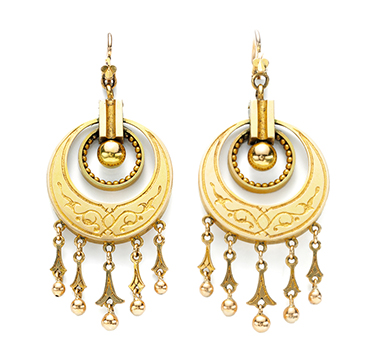 A Pair of Antique Gold Tassel Ear Pendants, 19th Century