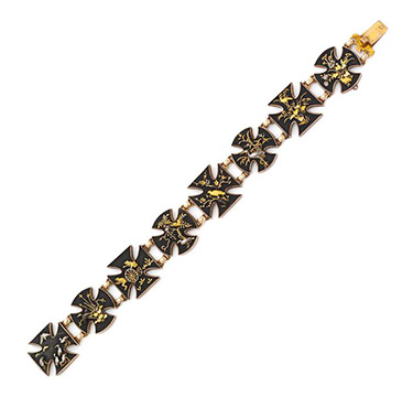 An Antique Gold and Copper Shakudo Bracelet, 19th Century