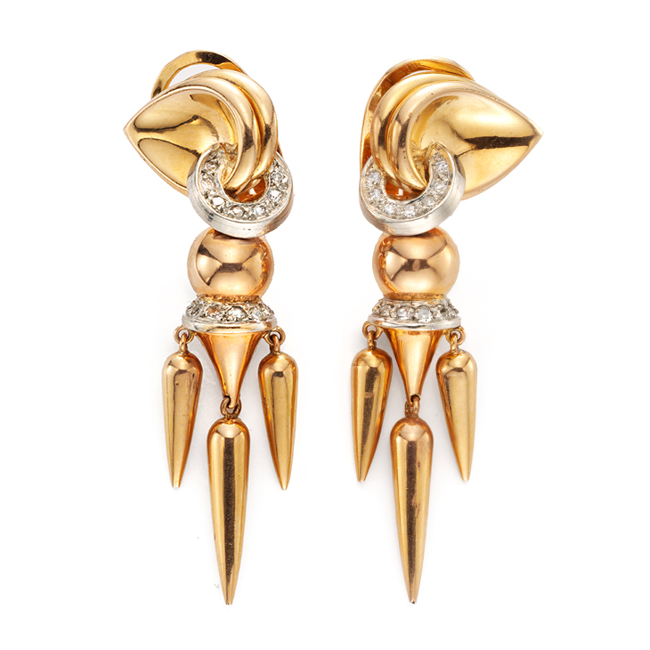 A Pair of Retro Diamond and Gold Ear Pendants, circa 1940