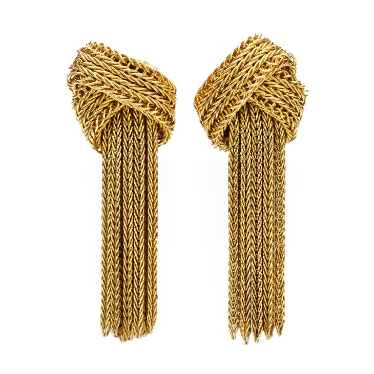 A Pair of Gold Tassel Ear Pendants, by Grosse, circa 1960