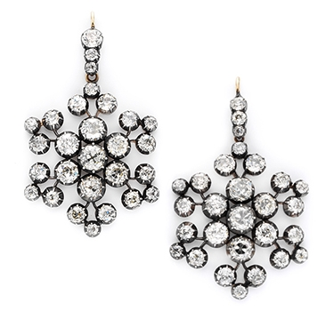 A Pair Of Antique Diamond Snowflake Ear Pendants