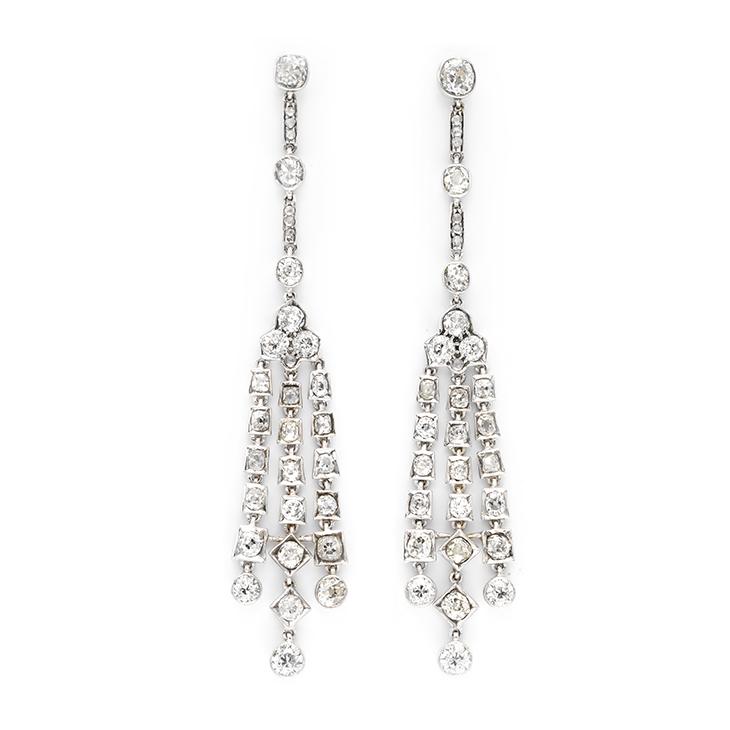 A Pair of Belle Epoque Diamond Ear Pendants, circa 1905