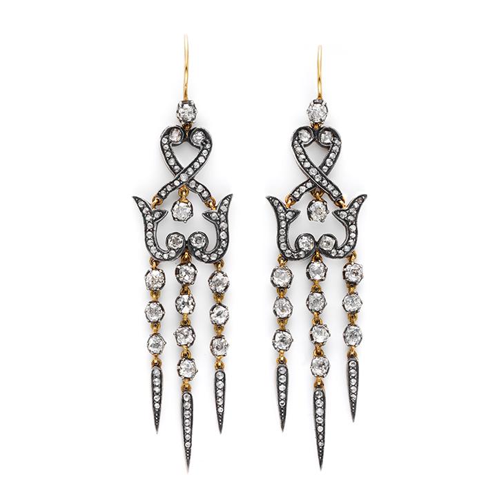 A Pair of Antique Diamond Ear Pendants, circa 1870
