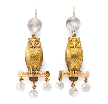 A Pair of Owl and Moonstone Ear Pendants