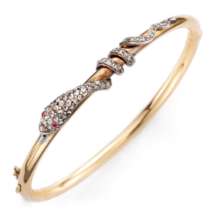 An Antique Diamond and Gold Serpent Bangle, circa 1880