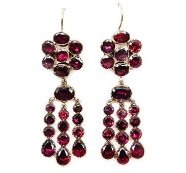 An Antique Pair Of Garnet Ear Pendants