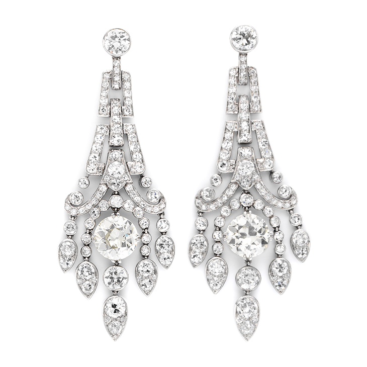 A Pair of Art Deco Diamond Ear Pendants