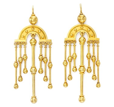 A Pair Of Antique Gold Ear Pendants