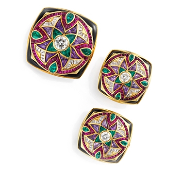 A Set Of Multi-gem And Diamond 'Carre' Brooch And Ear Clips, By Bulgari