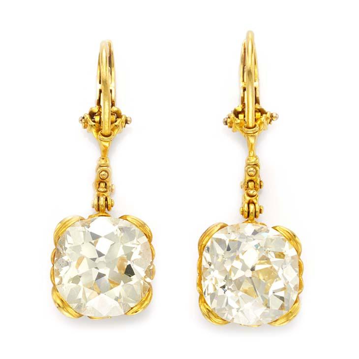 A Pair of Cushion-cut Diamond Ear Pendants, by Otto Jacobs