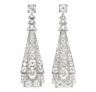 A Pair of French Art Deco Diamond Ear Pendants, circa 1930, possibly by Suzanne Belperron