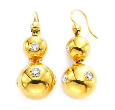 A Pair of Victorian Gold and Diamond Ball Ear Pendants