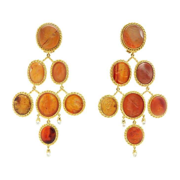 A Pair of Carnelian and Diamond Ear Pendants
