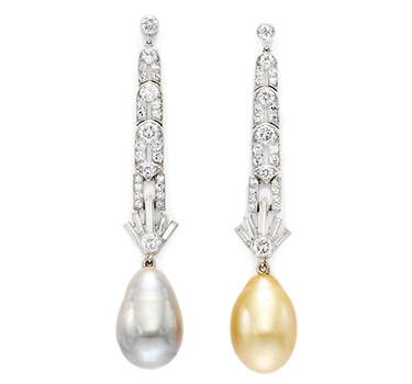 A Pair Of Art Deco Natural Pearl And Diamond Ear Pendants