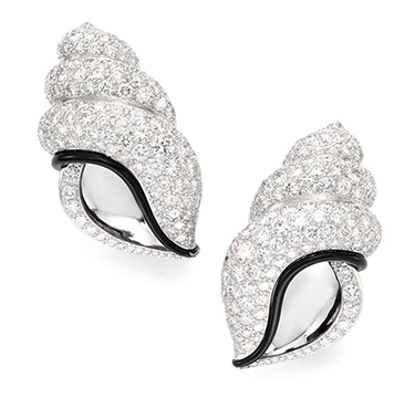 A Pair of Enamel and Diamond Ear Clips, by Herz-Belperron
