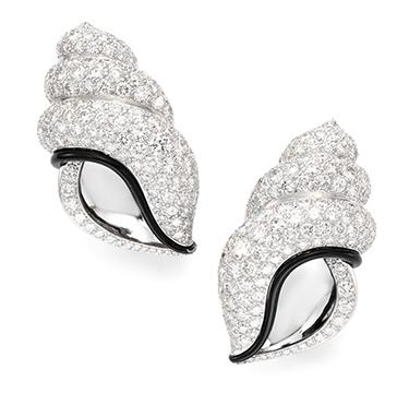 A Pair of Enamel and Diamond Ear Clips, by Herz-Belperron
