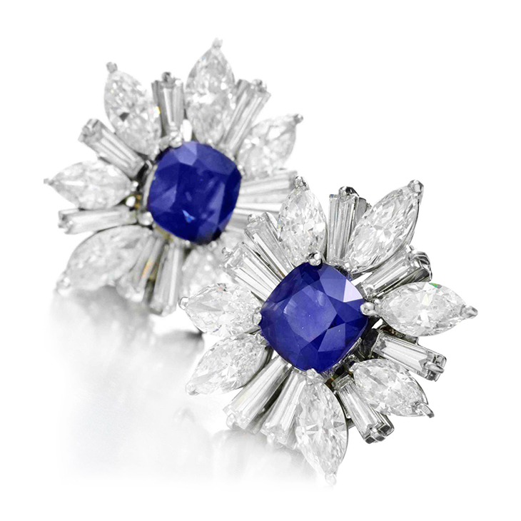 A Pair of Burmese Sapphire and Diamond Ear Clips, by Harry Winston
