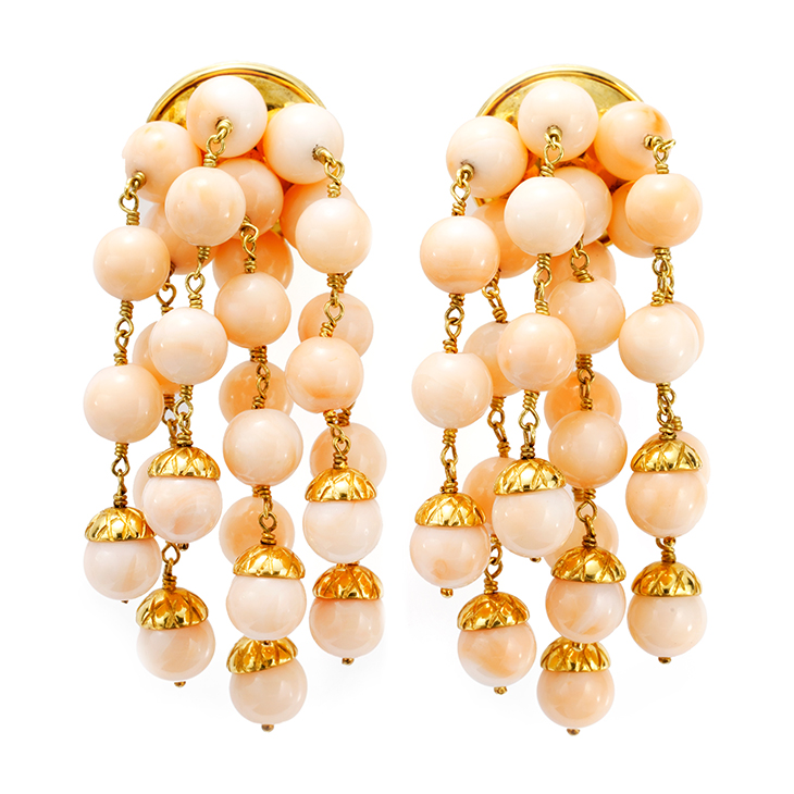 A Pair of Coral and Gold Ear Pendants